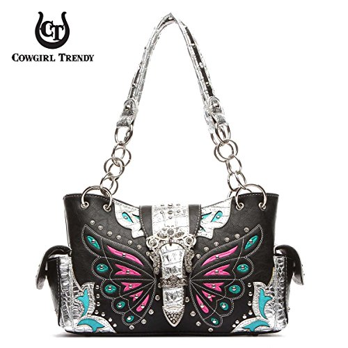Western Butterfly Pattern Purse (Black/Silver) by Western LuxeBag