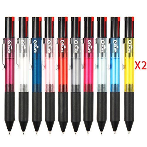 4 Pen Pack (GSlife Ballpoint Pens Multicolor Retractable Fine Point Pen 4 Multi Color Ink, Pack Of 20)