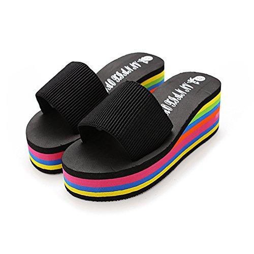 mhgao verano zapato de plataforma antideslizantes tacón sandalias y zapatillas negro