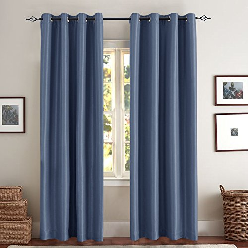 Blue Dupioni Silk (Faux Silk Blackout Curtains for Bedroom, Living Room Thermal Insulated Luxury Dupioni Window Curtain Panels, Grommet Top , (50-by-95 Inch, Slate Blue, One Pair))