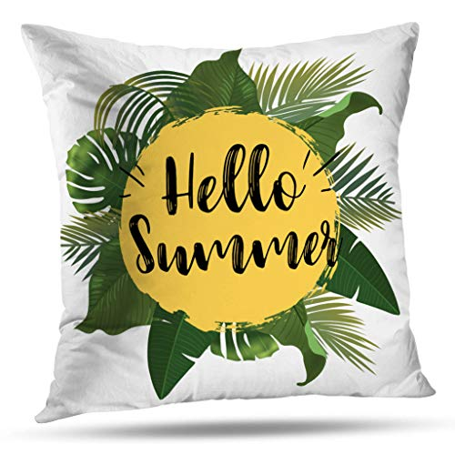 Geericy Sunshine Art Decorative Throw Pillow Covers, Hello Summer Time Wallpaper Fun Party Background Picture Art Design Travel Poster Event Cushion Cover 18X18 Inch for Bedroom Sofa -