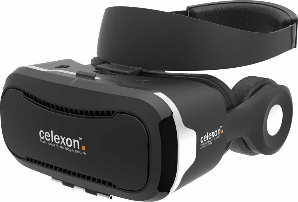 celexon VR Headset Economy VRG-3 - 3D Virtual Reality Glasses with detachable Hi-Fi headphones, Smartphones from 3.5'' to 5.7''