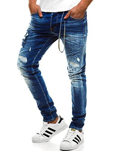 OZONEE Hombre Pantalones Vaqueros Pantalón Chándal Pantalones Deportivos Pantalones de Ocio Pantalón chándal Jogger Otantik 1805 Azul _ Ozonee B/1801