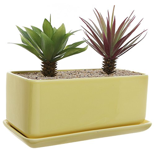 10 inch Rectangular Modern Minimalist Yellow Ceramic Succulent Planter Pot / Window (Saucer Yellow Flowers)