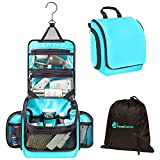 Premium Travel Hanging Toiletry Bag for Men and Women with Expandable Compartments for Cosmetics, Makeup Brushes, Jewelry, Shaving Tools, Detachable TSA Friendly Clear Pouch (Light Blue)