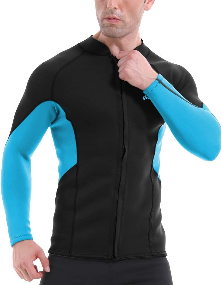 GoldFin Men's Wetsuit Top Jacket, 2mm Neoprene Jacket Long Sleeve Front Zip Wetsuit Shirt for Diving Surfing Snorkeling Rafting Swimming,SW021