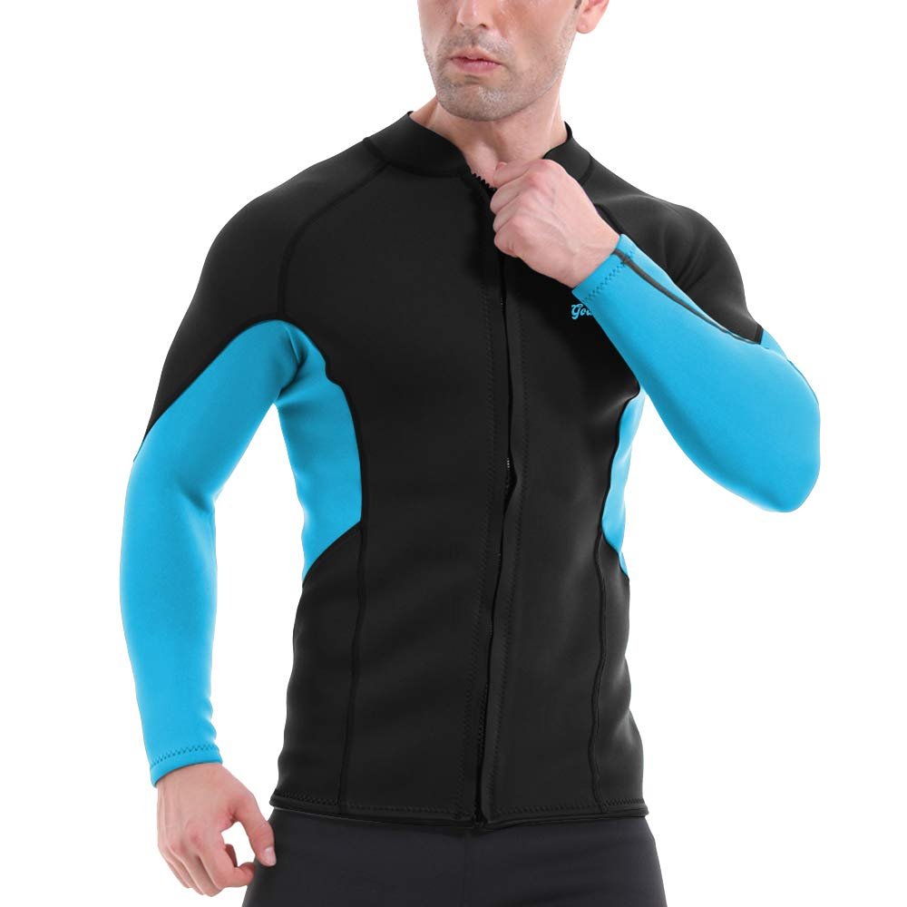 GoldFin Men's Wetsuit Top Jacket, 2mm Neoprene Jacket Long Sleeve Front Zip Wetsuit Shirt for Diving Surfing Snorkeling Rafting Swimming,SW021 (Black, 2XL) by GoldFin