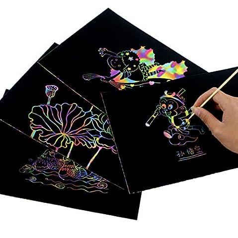 Scratch Art Rainbow | Mega Value 30 Sheet Scratch Paper Combo Art Set for Kids (Scratch And Sniff Stickers Bulk)
