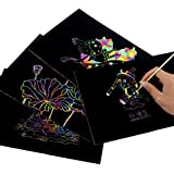 """Rainbow,Scratch Paper Notepad 30 Big 11"""" x 8.25"""" Sheets Coil-bound Together of Black Rainbow Scratch Paper for Kids Childrens Girls,Makes Art Fun With Wooden Stylus"""