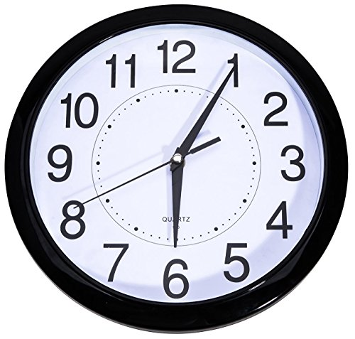 Bekith Non Ticking 11 1/2-Inch Round Quartz Wall Clock, Blac