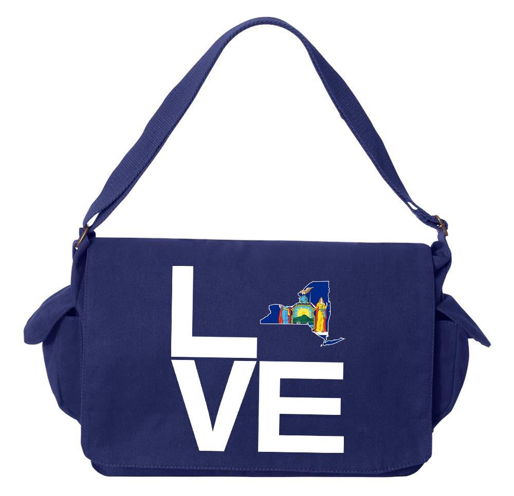 Tenacitee LOVE New York Green Brushed Canvas Messenger Bag