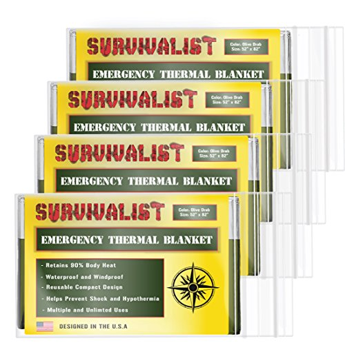 Emergency Mylar Thermal Blankets by SURVIVALIST (4-Pack) + BONUS Silver Space Blanket - Designed for NASA - Perfect for First Aid, Outdoors, Hiking, Survival, or Bug Out Bags (Olive Drab Green)