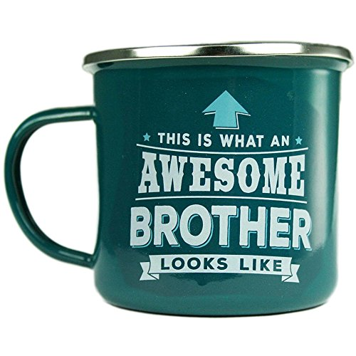H & H Top Guy Mug Brother, Large Camping Coffee Mug, Enamel, 14 oz, Multi-Colored, Light-weight, Retro Inspired for Men