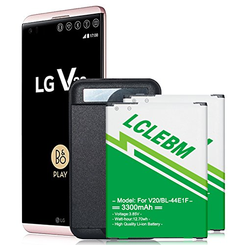 LCLEBM LG V20 Battery, 2x3300mAh V20 Battery Replacement with Spare Battery Charger for LG V20 BL-44E1F, US996,H910, H918, VS995, LS997 Li-ion Backup Replacement Battery (Cell Phone Spare Battery Charger)