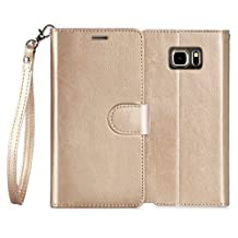 Samsung Galaxy S6 Edge Case , FYY [Top-Notch Series] Premium PU Leather Case All-Powerful Cover for Samsung Galaxy S6 Gold