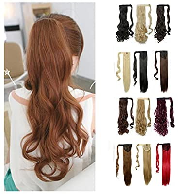 Wrap Around Synthetic Ponytail Clip in Hair Extensions One Piece Magic Paste Pony Tail Long Straight Soft Silky for Women Fashion and Beauty