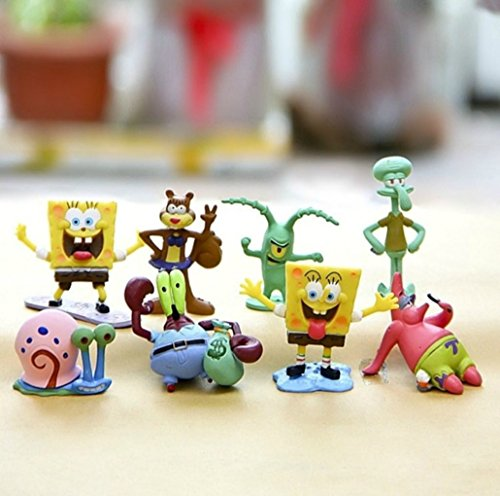 Spongebob Figures | Cake topper | 8 Figure Action Set |  Squidward Plankton Patrick Sandy Gary + Sponge Bob STICKERS By ToysOutLet_USA