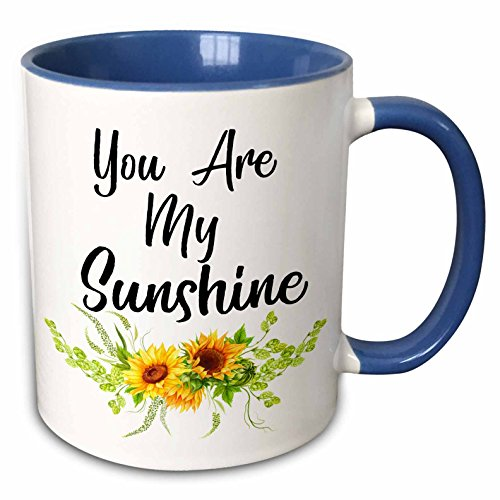 3dRose Anne Marie Baugh - Quotes - You Are My Sunshine With Yellow Sunflowers - 11oz Two-Tone Blue Mug (mug_254947_6)