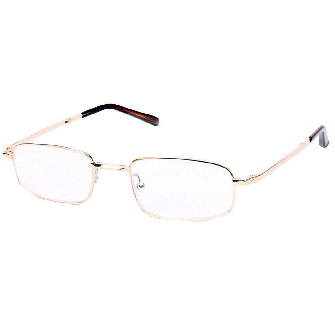 Editha Men Women Fashion Lightweight Foldable Reading Glasses Travel Trip Clear Eyeglasses Presbyopic Glasses 1404 Golden 3