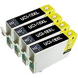UCI 4x Noir Epson 18XL Cartouches d'encre compatible avec Epson Expression Home XP-102, XP-202, XP-205, XP-212, XP-215, XP-225, XP-30, XP-33, XP-302, XP-305, XP-312, XP-315, XP-322, XP-325, XP-402, XP-405, XP-405WH, XP-412, XP-415, XP-422, XP-425