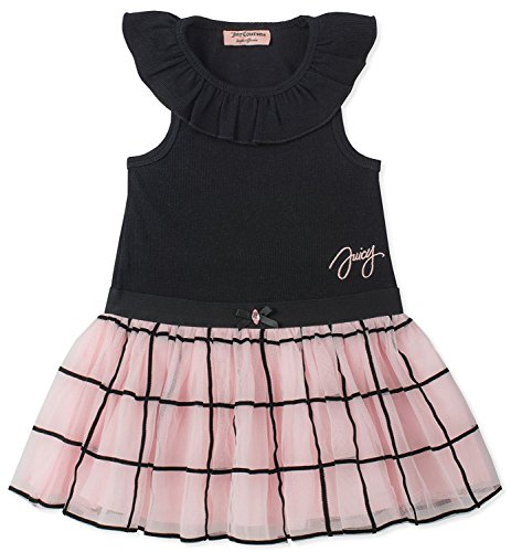 Juicy Couture Girls' Little Casual Dress, Black/Pink 4