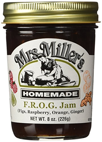 Mrs. Miller's Amish Homemade F.R.O.G. Jam (Figs, Raspberry, Orange & Ginger) 8 oz/226g - Pack of 2 (Boxed) by Mrs. Miller's
