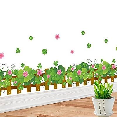 FairyTeller Clovers Flowers Fences Baseboard Wall Decals Home Decorative Stickers Adesivos De Paredes 3D Wall Tatoo Diy Room Mural Art 062.