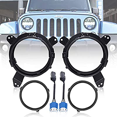 Jeep Headlight Mounting Bracket Aluminium Alloy Omni-directional Adjustment 7 Inch Headlight Bracket Replacement for 2020-2020 Jeep Wrangler JL JLU and All Types of 7 Inch Round Headlights (Black): Automotive