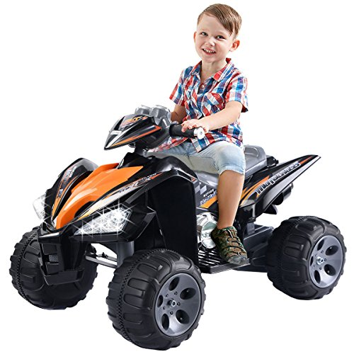 Giantex Kids Ride On ATV Quad 4 Wheeler Electric Toy Car 12V Battery Power Black (Four Quad Wheeler)