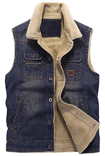 chouyatou Men's Winter Button Front Rugged Sherpa Lined Sports Denim Vest Jacket (Small, Vest-Dark Blue)