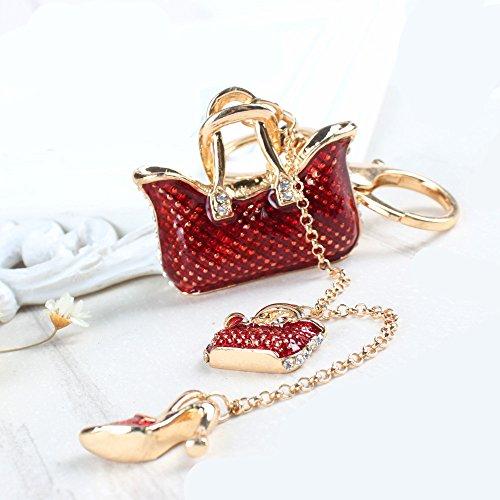 Fashion Purse High Heel Shoes Two Bags Keychain Key ring key chain Charms women Car Trinket Female's gift key ring Key Holder key fob bag fashion accessories - Heel Shoe Keychain High