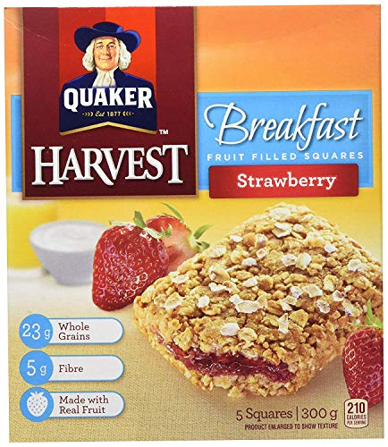 Quaker Harvest Breakfast Strawberry Fruit Filled Squares 300g/10.6oz (Imported from Canada)