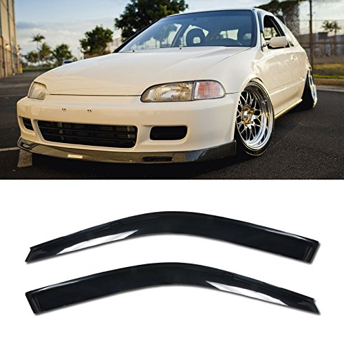 VXMOTOR for 92-95 Honda Civic 2DR Coupe Side Tinted Windows Visor EG SI Mugen Type R