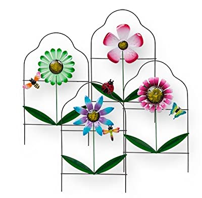 Gift Boutique Painted Metal Floral Garden Border Fence