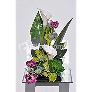Tropical White Calla Lily, Plum Anemone and Green Succulent Floral Arrangement 109