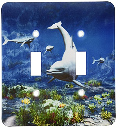 3dRose lsp_172906_2 Underwater Scene with Dolphin, Sharks and Tropical Fishes Light Switch Cover