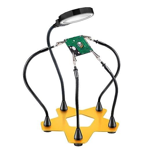 Zzyq Lupa de Carga Multifuncional 3X, Lupa de aleación de Aluminio de la Mesa de Soldadura LED Lupa: Amazon.es: Hogar