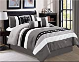 Oversized King Bed in a Bag Set Luxlen 7 Piece Luxury Bed in Bag Comforter Set, Oversized, Black, Cal King