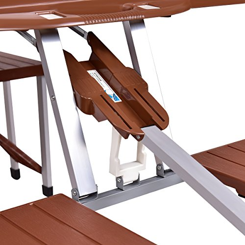 Giantex Portable Folding Picnic Table with Seating for 4 Garden Party Camping Time Design (Brown) by Giantex (Image #6)