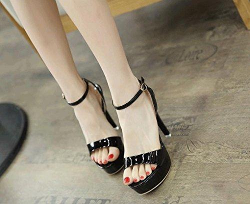 Negro Verano Coreana Co Sexy Alto Bajo Sandalias Trading Shanxi Ltd Yaoyao Sandalias Tacón Moda Yeye Versión De 0AtazU