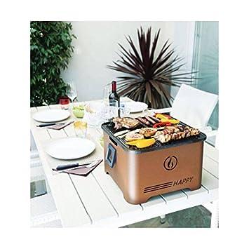 Barbacoa Happy, innovador grill portátil a pellets, ahorra espacio, Corten