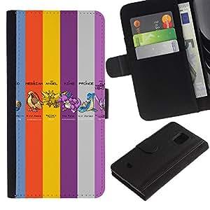 Stuss Case / Funda Carcasa PU de Cuero - Pekemon Colores - Samsung Galaxy S5 Mini, SM-G800