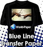 Heat Transfer Paper for Dark Fabric For Inkjet Printer Iron On Blue Line 11x17 200 Sheets