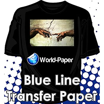 Blue Line Dark Iron On Heat Transfer Paper for Inkjet 8.5 X 11-35 Sheets