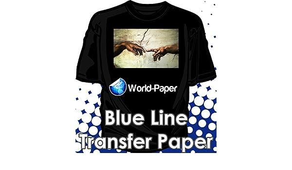 Blue Line Dark Iron On Heat Transfer Paper for Inkjet 11 x 17-75 Sheets