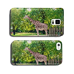 Giraffe between trees on bright day cell phone cover case iPhone5