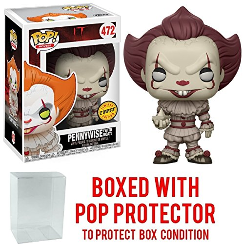 Stephen King's It Pennywise Clown Pop Vinyl Figure Chase Variant and (Bundled with Pop Box Protector Case)