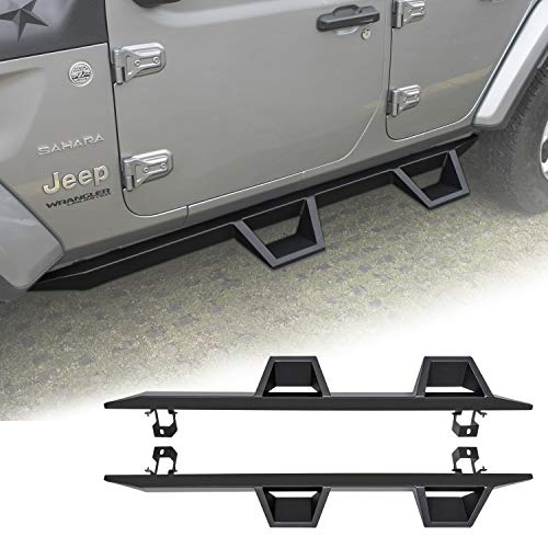 Danti Black Stainless Steel Drop Down Side Steps Running Boards for Jeep Wrangler JL 2018 2019 Off Road Door Entry Guards 4 Doors Nerf Bars ()