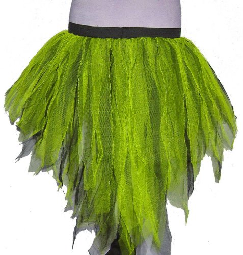 Neon Lime Black 7 Layers Trashy Tutu Skirt Peacock Bustle Dance Fancy Costume Dress Party Halloween Christmas Free Shipping (Trashy Fancy Dress)