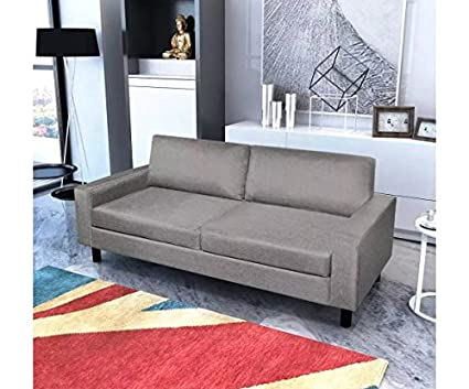 Amazon.com: 2-Seater Sofa Light Gray 150 x 87 x 81 cm Couch ...